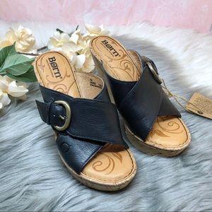 Born Jenee Black Leather Cork Wedge Slip On Sandal